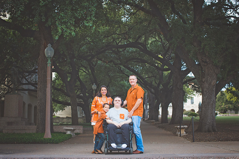 Family of four University of Texas photographer wheelchair accessible UT campus Hook Em Longhorn Fanatics How to Find Perfect Austin Family Photo Locations