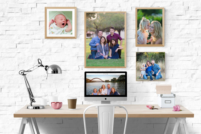 Best of 2017 Austin Portrait Photographer desk with iMac and pictures hanging on the wall