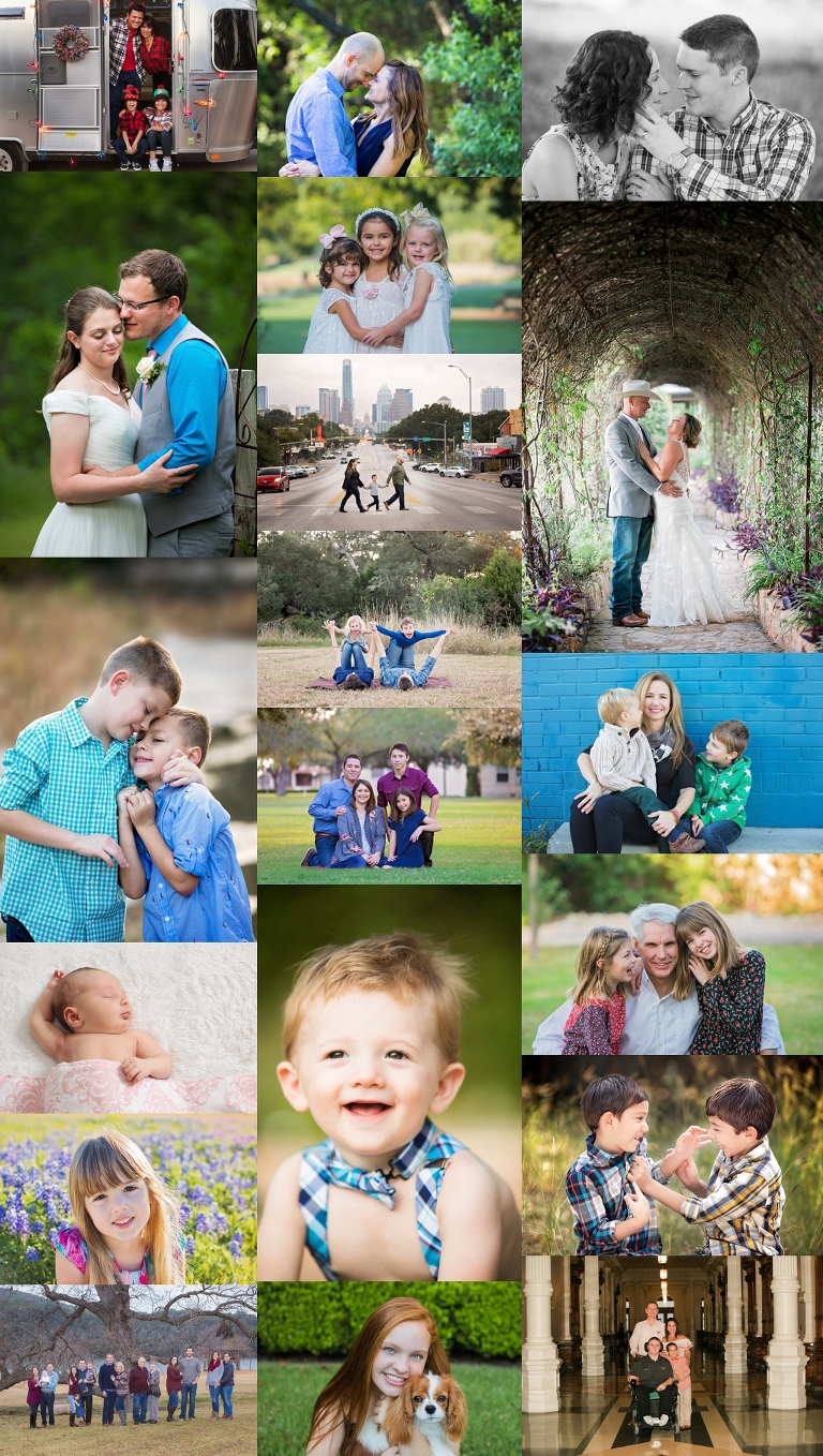 Best of 2017 Austin Portrait Photographer collage of family and wedding images that show my favorite of the past year