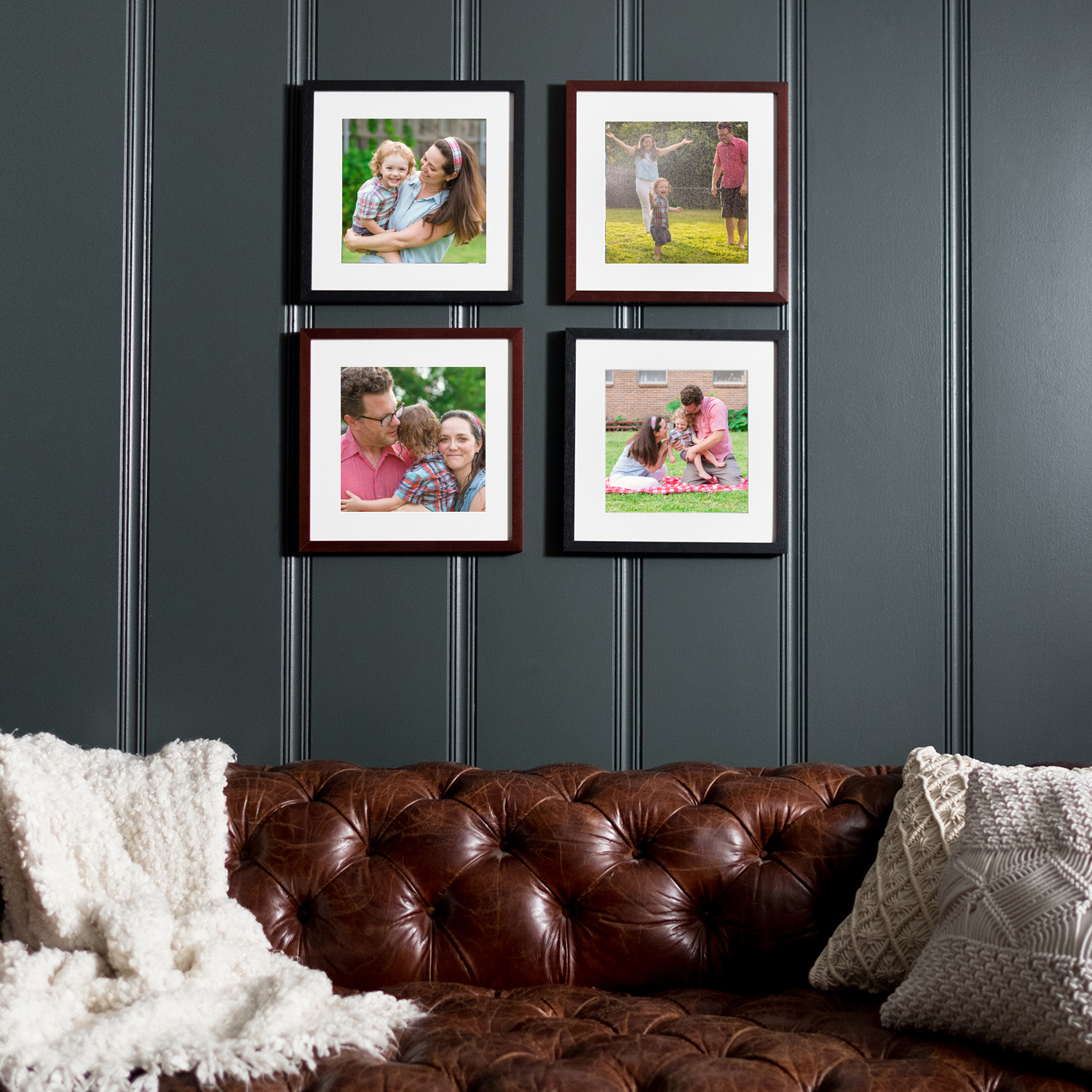 family lifestyle photographer Austin framed wall gallery with family images