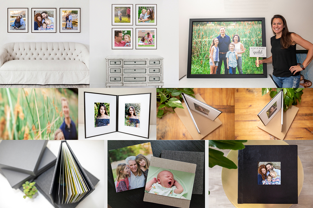 Professional Fine Art Family Photography Austin product line including albums, canvas, image folios and framed prints