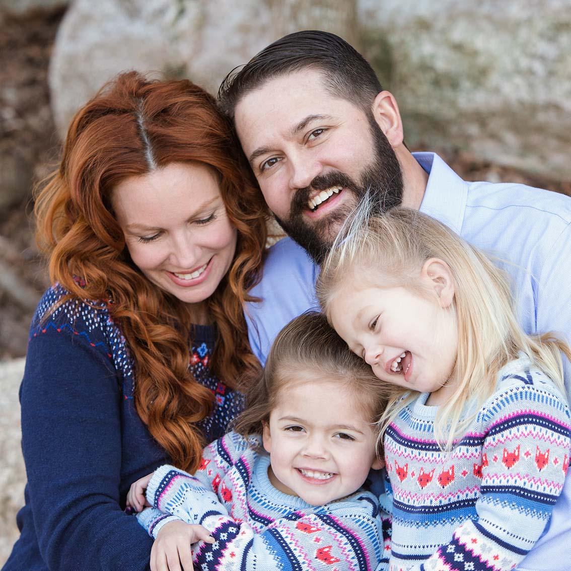 Austin family photographer Bull Creek Austin family of four laughing