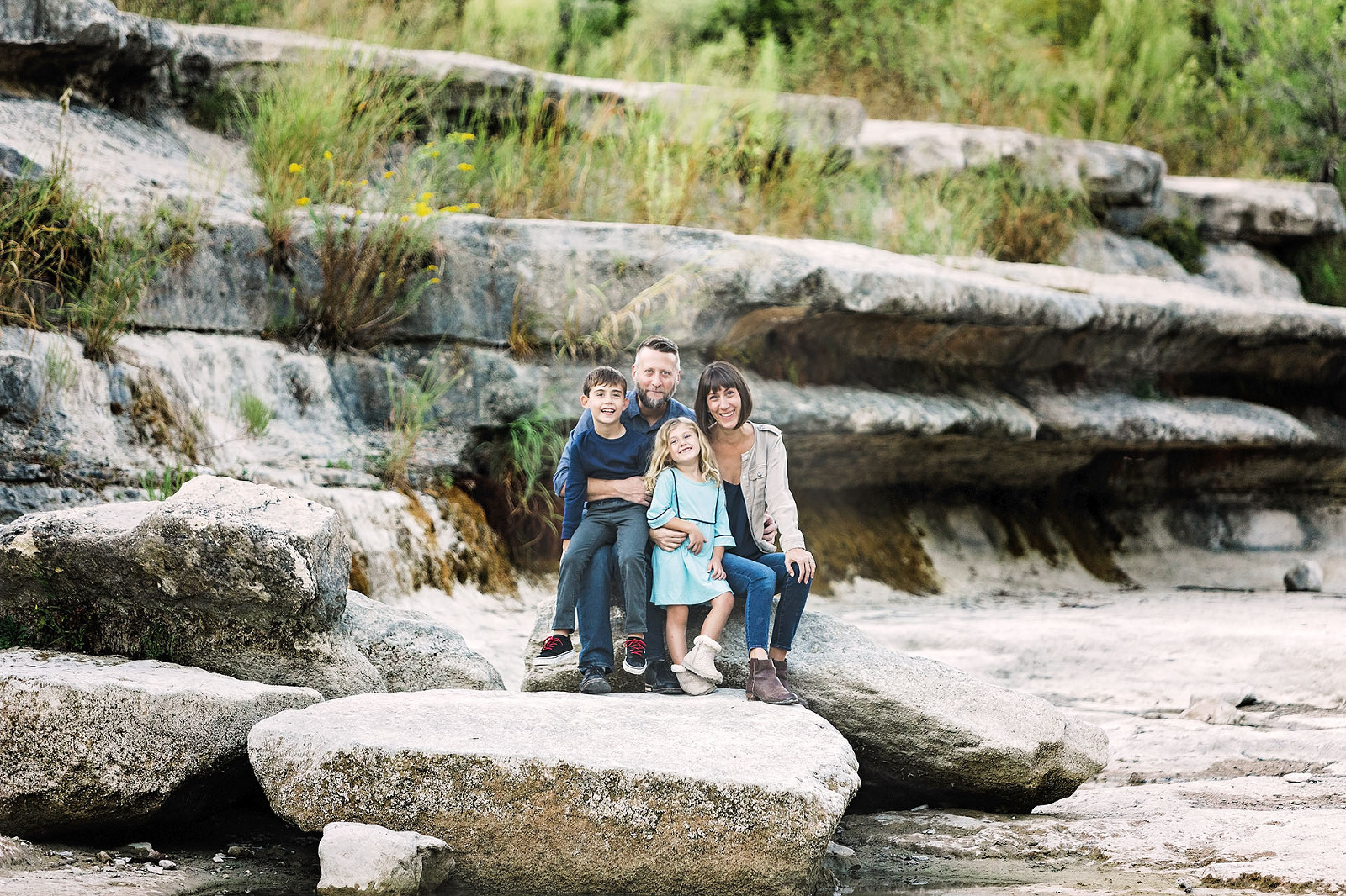 Austin professional family photographer family of four at Bull Creek
